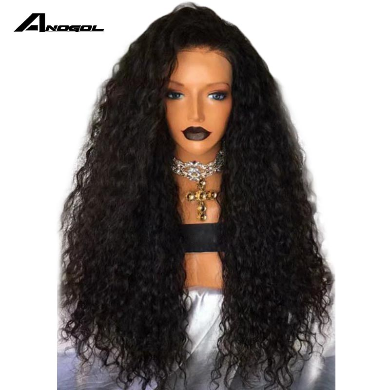 Anogol 26Inch Black Wig Heat Resistant Synthetic Lace Front Wig With Natural Hairline 180 Density Curly