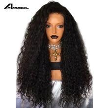 Anogol شعر مستعار أسود اللون مقاومة للحرارة الاصطناعية الدانتيل شعر مستعار أمامي مع الشعر الطبيعي مجعد الباروكات للنساء السود