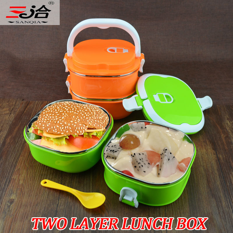 2 layer korean stainless steel thermos bento lunch box thermal food container food box colorful. Black Bedroom Furniture Sets. Home Design Ideas