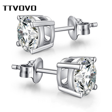TTVOVO Solid 925 Sterling Stud Earrings for Women Men CZ Cubic Zirconia 4 Claws Stud Ear Beaded Ball Earring Brinco S925 Jewelry