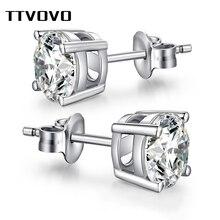 TTVOVO solidna 925 Sterling stadniny kolczyki dla kobiet mężczyzn CZ cyrkonia 4 pazury Stud Ear wyszywana koralikami na bal kolczyk Brinco S925 biżuteria