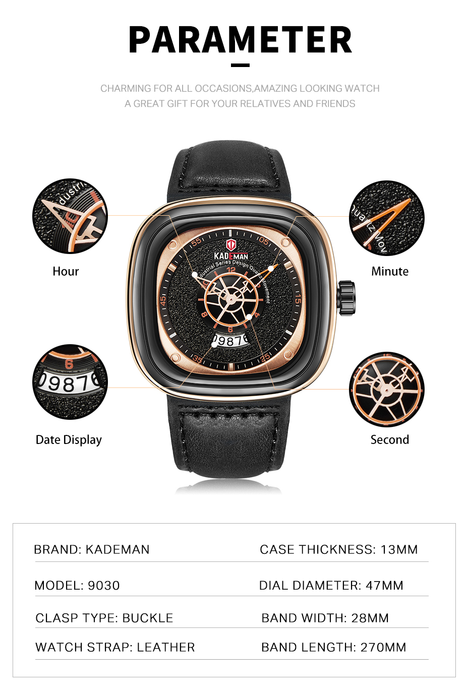 2020 Luxury Men Watches New Fashion Square Quartz Watch TOP Brand KADEMAN Casual Leather Wristwatches Business Relogio Masculino
