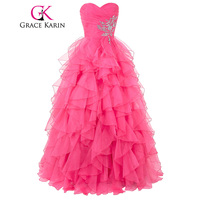 2016 Grace Karin Sweetheart Crystals Quinceanera Dress Ball Gown Organza Ruffled Princess Quinceanera Dresses For Sweet
