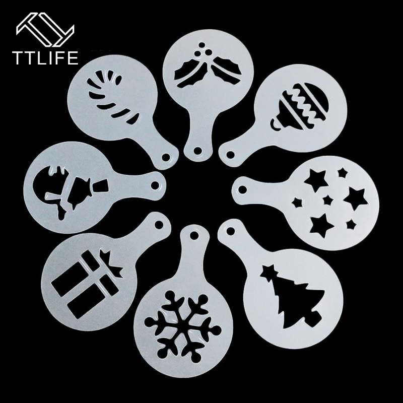 TTLIFE 8pc Christmas Style Coffee Barista Art Stencils Cafe Foam Spray Cake Duster Template Cappuccino Carving Printing Mold