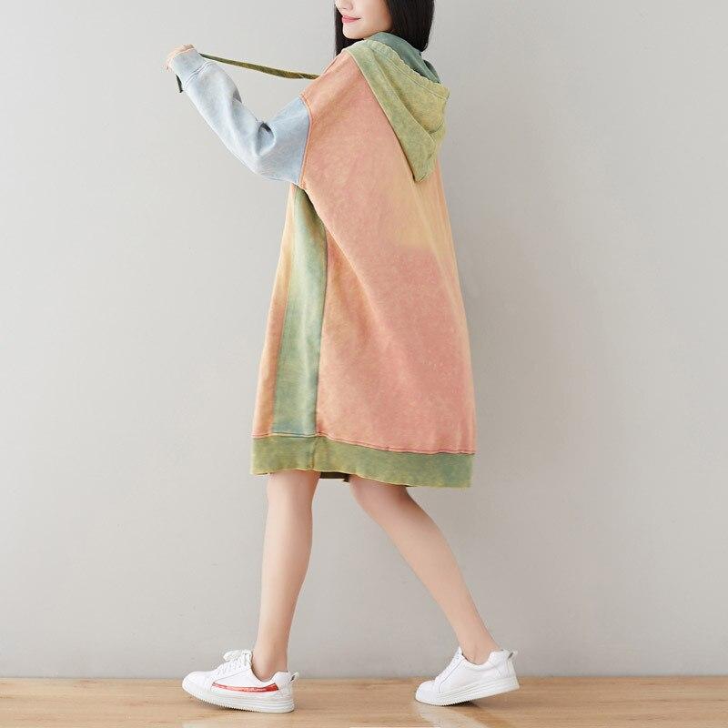 Oversize Robe à capuche japonais Harajuku Patchwork Long Hoodies sweat décontracté tricoté Baggy pulls grande taille rétro Robe - 2