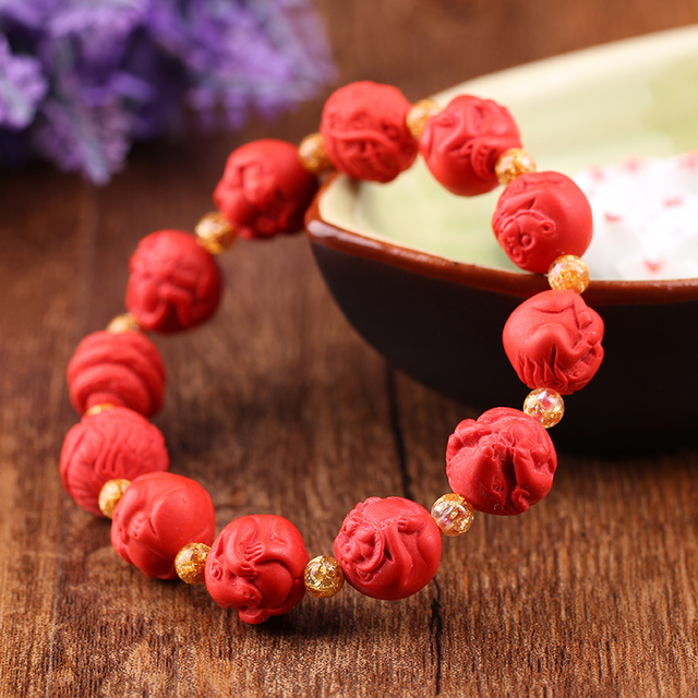 Natural Taiwan Red Cinnabar Bracelet Hand Carved Chinese Zodiac Fashion Men And Women Jewelry Jades