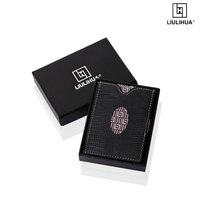 Multifuction Wallet three fold wallet Lizards texture genuine leather business genuine leather Money Clip Ultrathin Pocket Clamp