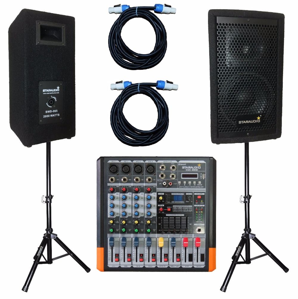 STARAUDIO SWD-065 2 Pcs 2000 W 6.5 Club DJ Stage Wooden Speakers with 4CH Amplifier Audio Powered Mixer 2 Cables 2 Stands morusu siva sankar financial analysis of the tirupati co operative bank limited