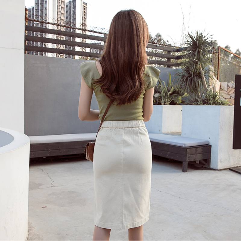 Women Clothes 2019 Office Lady Pencil Skirt High Waist White Row Of Button Hipper Skirt High elastic korean style women in Skirts from Women 39 s Clothing