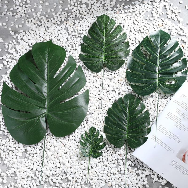 1 шт. Искусственные Поддельные Monstera Пальмовые Листья в форме листа зеленые растения Свадебные DIY украшения дешевые цветы композиция растени...