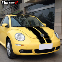 Car Styling Hood Bonnet Roof Top Rear Trunk Stripes Kit Decals Stickers Vinyl for Volkswagen Beetle 2002 2006 Accessories