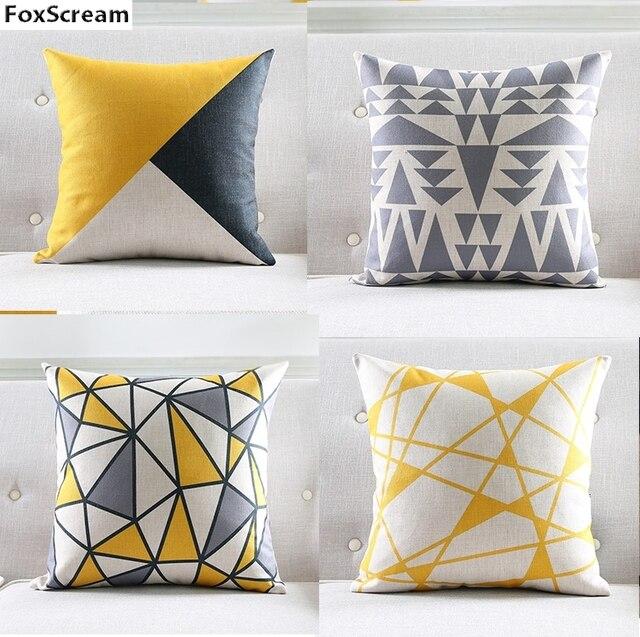 nordic stijl kussenhoes grijs geel sierkussens geometrische kussens covers woondecoratie