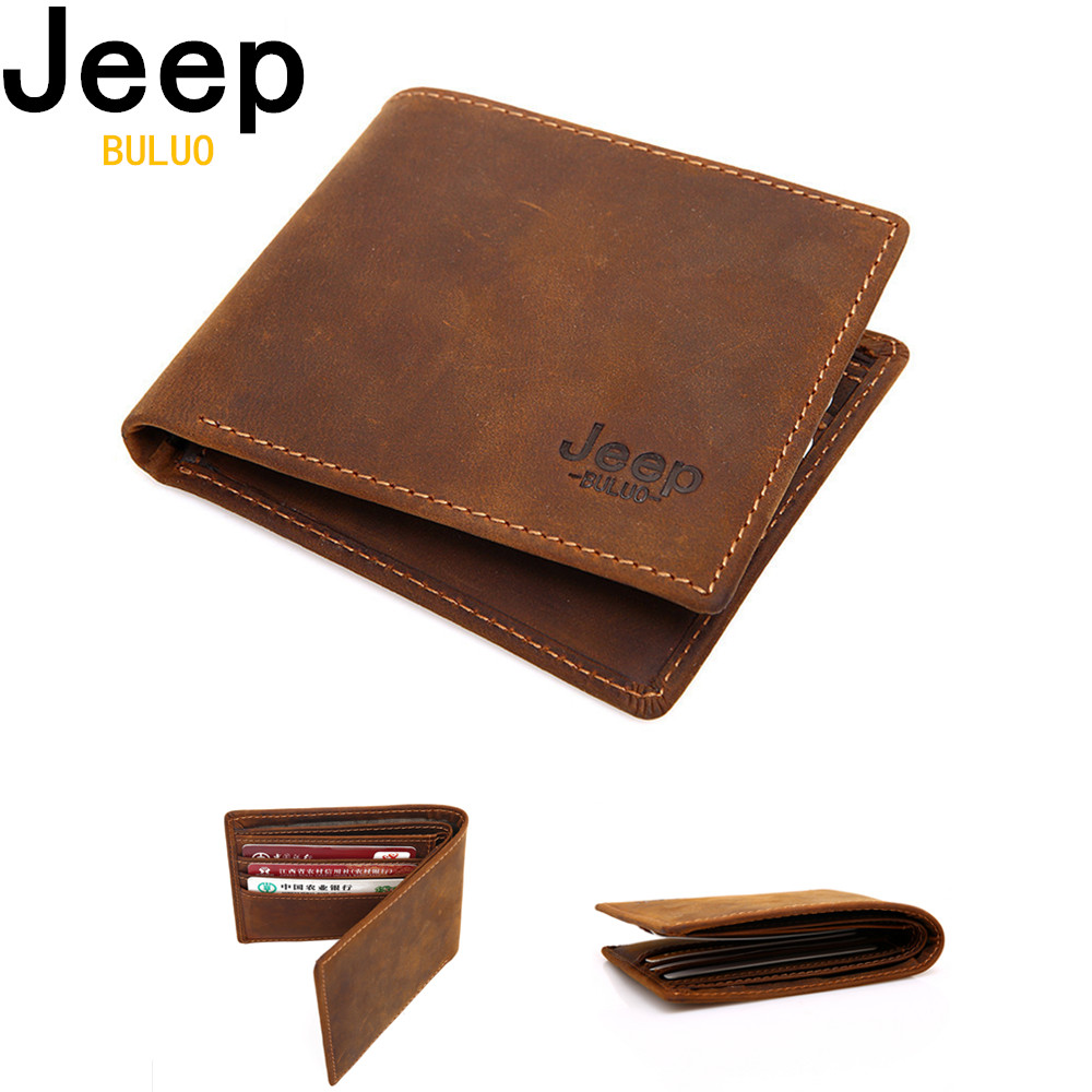 JEEP BULUO Luxury Brand Cow Genuine Leather Men Wallets 100% Top Quality Short Male Purse Carteira Masculina Drop shipping W003 cowather 100% top quality cow genuine leather men wallets fashion splice purse dollar price carteira masculina original brand