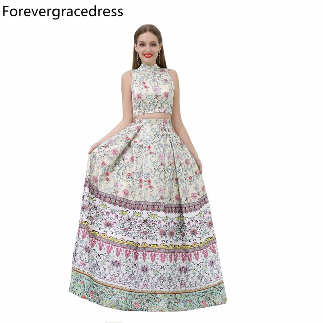 Forevergracedress Gorgeous High Neck Prom Dress New Arrival Two Pieces Long  Evening Party Gown Plus Size Custom Made cef32499a8d8