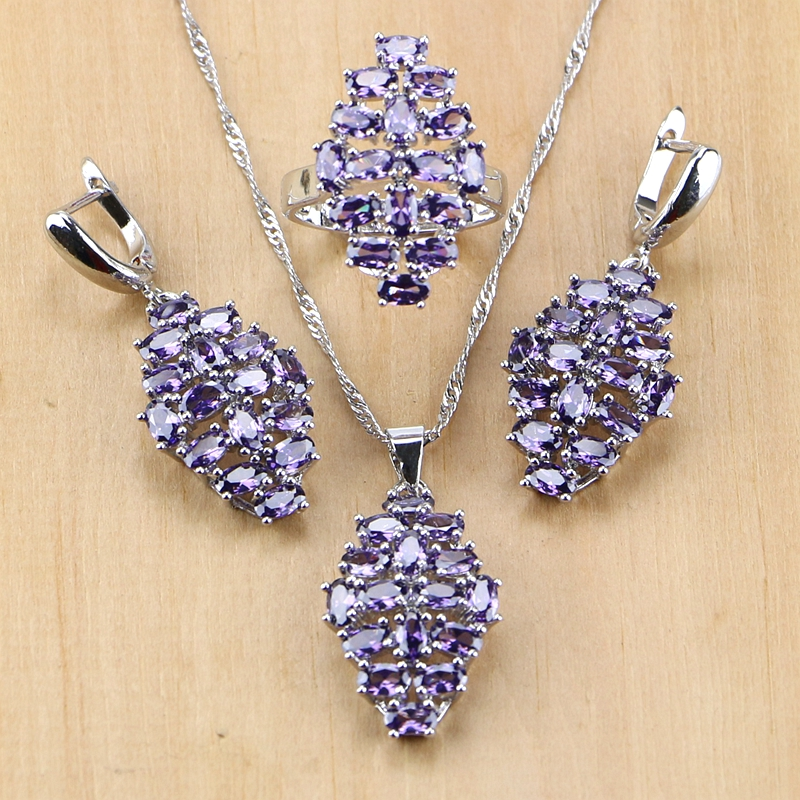 925-Sterling-Silver Jewelry Cubic-Zirconia Necklace/ring Purple Women Punk White CZ