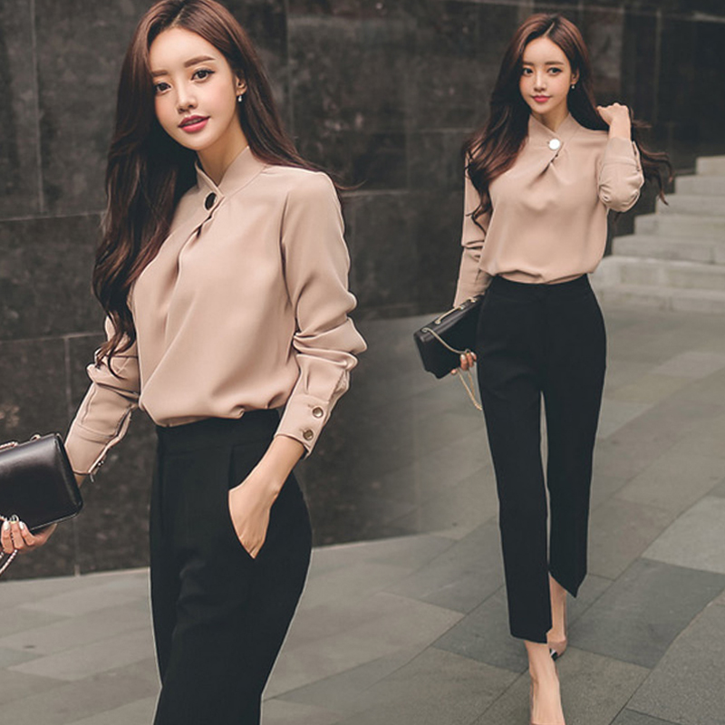 Women Business Suits 2 Two Piece Sets Office Work Wear Sexy Bodycon Vestidos Fashion Chiffon Shirt Tops And Black Straight Pants