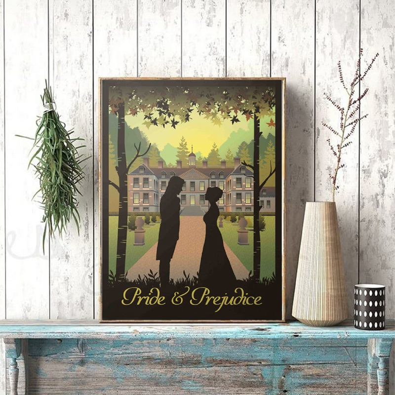 Pride And Prejudice Book & Movie Poster Prints Jane Austen Gifts Vintage Wall Art Canvas Painting Picture Home Room Wall Decor