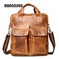Famous Brand  Vintage Crazy Horse Leather Men's Briefcase Laptop Business Case Genuine Leather Messenger Bag Men Shoulder Bag