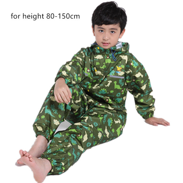 Chubasquero de dinosaurio para niños, capucha impermeable chubasquero para niños mono traje de lluvia, estudiantes bebé capa de lluvia poncho