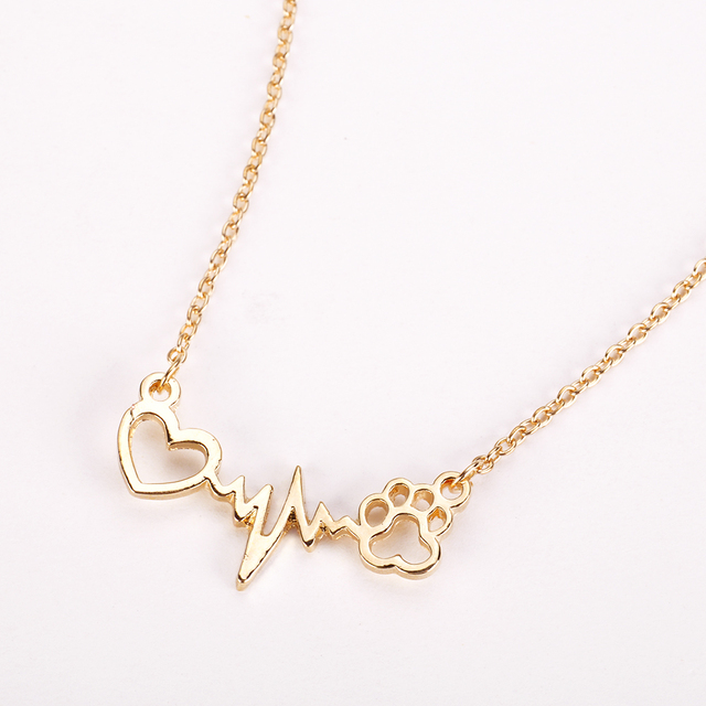 Footprints Paw Heart Love Chain Pendant Necklace