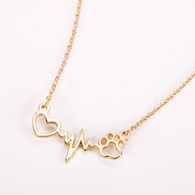 Fashion Cute Pets Dogs Footprints Paw Heart Love Chain Pendant Necklace