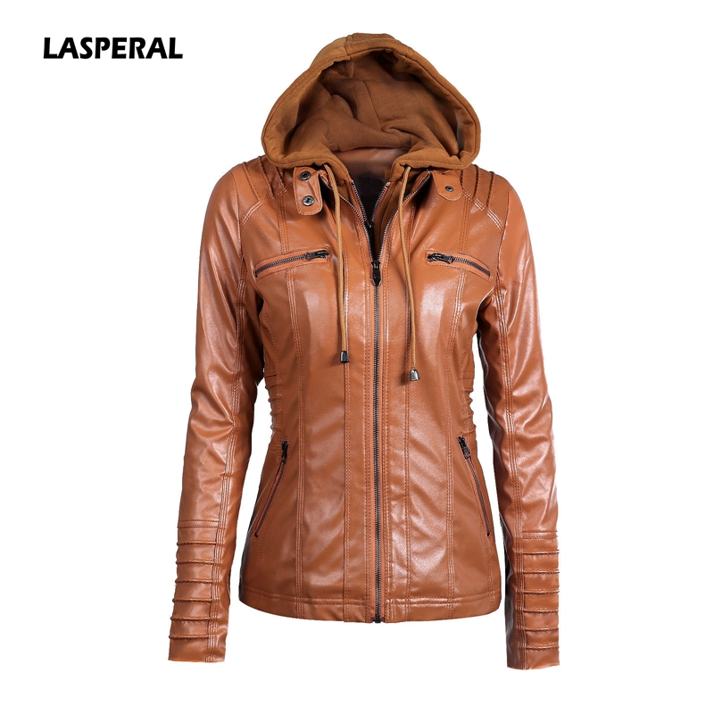 LASPERAL 2017 Hooded Faux <font><b>Leather</b></font> Jacket Women Autumn Winter Tops Motorcycle Jackets Hat Detachable Slim Coat Outwear Plus Size