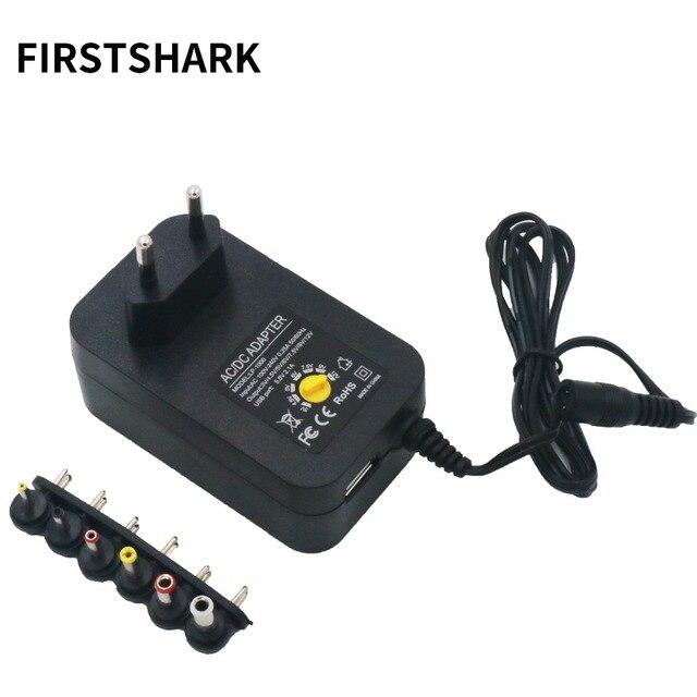 100-240 V PARA 3 V, 4.5 V, 5 V, 6 V, 7.5 V, 9 V, 12 V 30 W Ajustável Universal AC/DC Adaptador de Carregador de Comutação da fonte de Alimentação + 5 V Porta USB