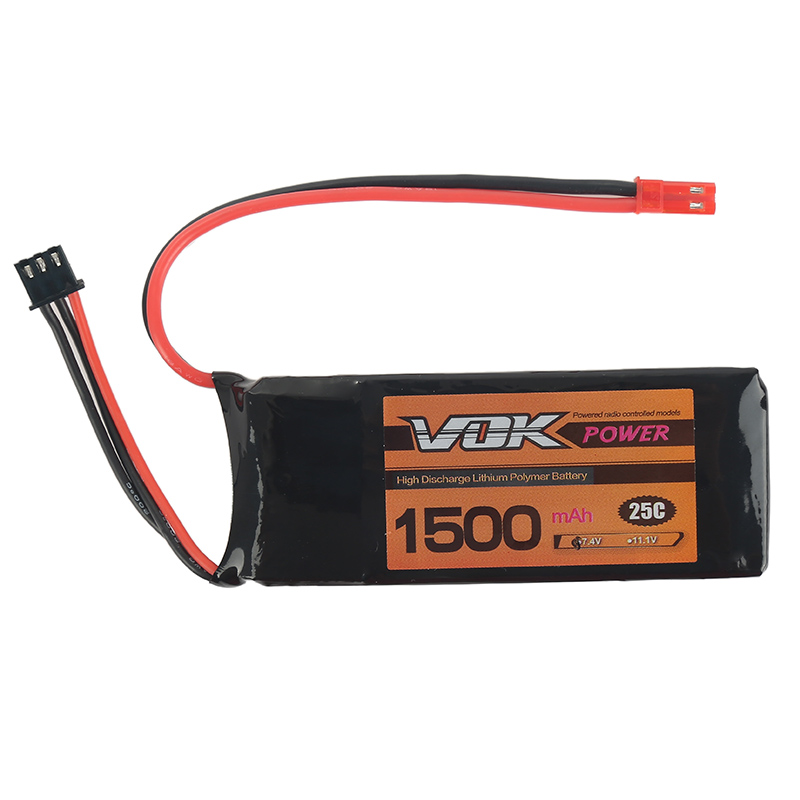 2017 Hot Selling Battery for RC Helicopter Airplane Car 7.4V 1500mAh 2S 25C of JST Lipo RC Battery JST