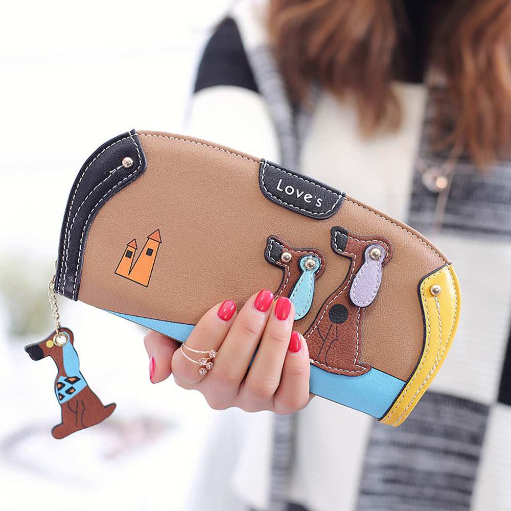 Fashion Women Wallets Handbags Coin Purse Dog Print  Long Clutch Wallet Cards ID Money Holder Bags Monederos Para Mujer