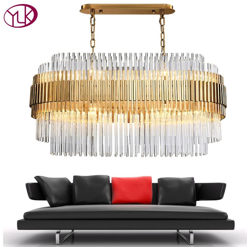 Youlaike Modern Crystal Chandelier Rectangle Design Gold Chandeliers Lighting Luxury Dining Room Hanging Cristal Lustre
