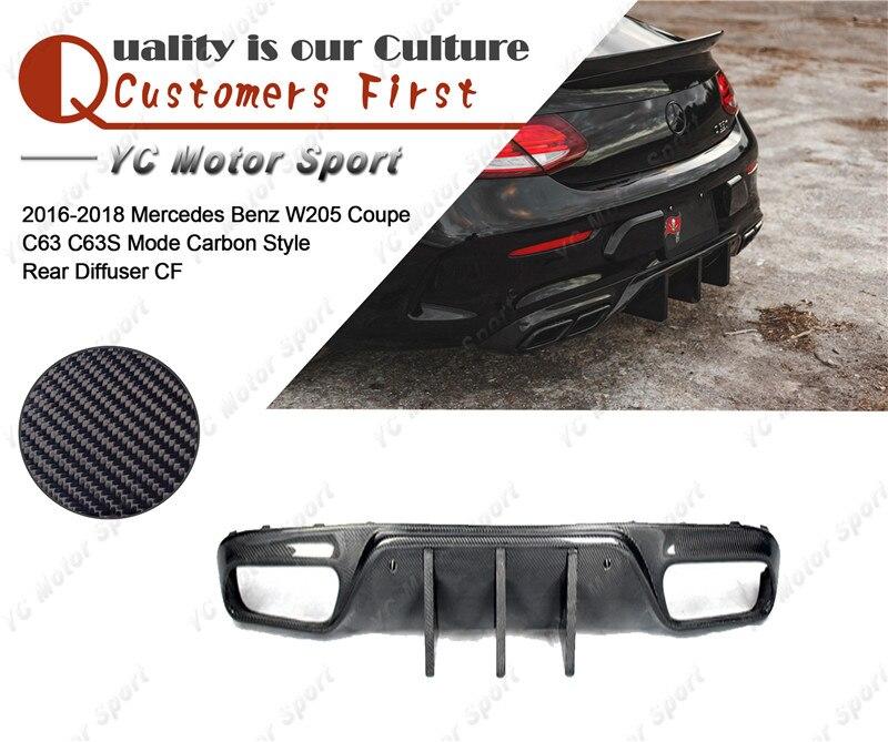 Diffuseur arrière en Fiber de carbone pour accessoires de voiture 2016-2018 MB W205 Coupe C63 C63S Mode diffuseur arrière en carbone