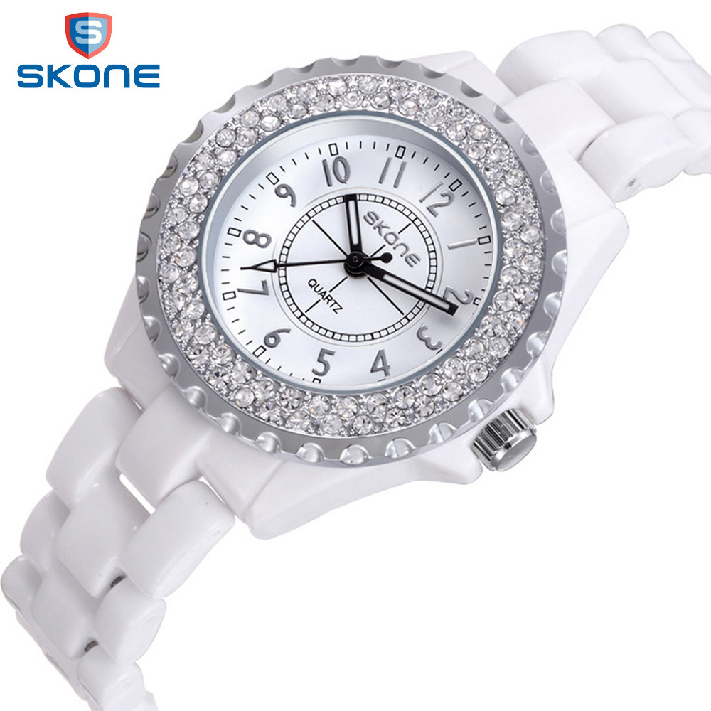 SKONE Watches Women Top Brand Luxury Casual Quartz Watch Female Ladies Ceramic Watches Girls Wristwatches Gifts Relogio Feminino