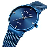 BIDEN brand womens quartz wristwatches womens watches blue stainless steel diamond waterproof ladies clocks Citizen movement