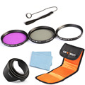 55mm Lens Filter Kit UV Ultraviolet Protector CPL Circular Polarizer FLD Hood For Sony A55 A35 A65 18-55mm
