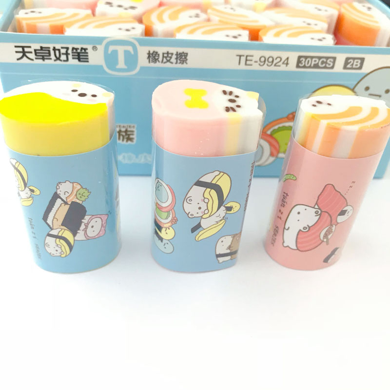 1PC Kawaii Sushi Food Family Cutable Eraser Rubber Erasers Correction School Office Supply Student Stationery Kid Gift