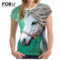 FORUDESIGNS 3D Crazy Horse Women Casual T Shirt Girls Summer Female Shirts Short Sleeved Ladies T