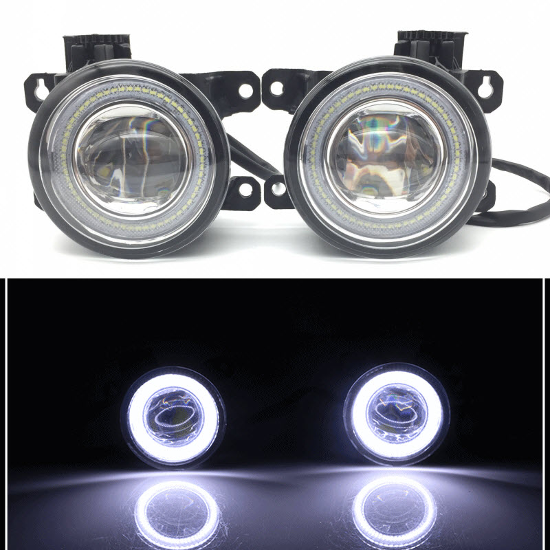2 in 1 LED Angel Eyes DRL 3 Colors Daytime Running Lights Cut-Line Lens Fog Lamp for Jaguar S-Type X-Type XJ X358 XK car styling 2 in 1 led angel eyes drl daytime running lights cut line lens fog lamp for land rover freelander lr2 2007 2014