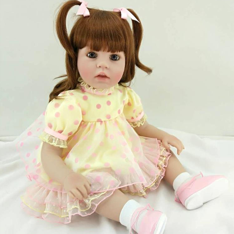 2017 Fashion Girl Dolls With Long Hair Big Eyes Lovely Lifelike Silicone Baby Present Real Touch Accompany 60cm Collection Toys