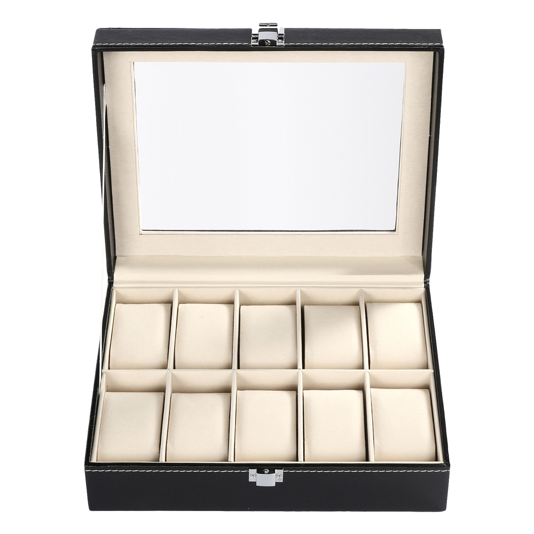 FANALA Black PU leather 10Grid professional Wrist Watch Display Box Jewelry Storage Holder Organizer Case fashion wrist watch box jewelry bangle bracelet display storage holder organizer