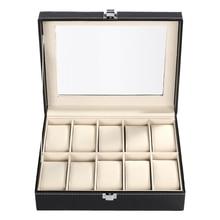 FANALA  Black PU leather 10Grid professional Wrist Watch Display Box Jewelry Storage Holder Organizer Case