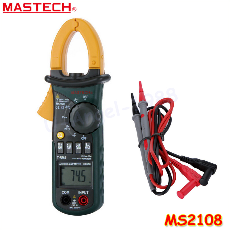 Mastech MS2108 Digital Clamp Meter True-rms Inrush Current 66mF Capacitance Frequency Measurement mastech ms2108s digital ac dc current clamp meter true rms multimeter capacitance frequency inrush current tester vs ms2108