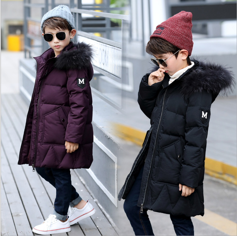 2017 Winter Boys Long Section Thickening Warm Natural Fur Collar Duck Down Jacket Children Outwear Coat Kids Winter Clothes russia winter boys girls down jacket boy girl warm thick duck down