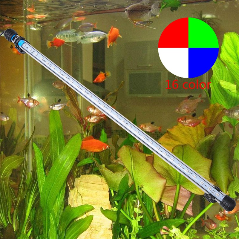 EU Plug 57CM 6.5W 30LED Fish Tank Aquarium <font><b>LED</b></font> <font><b>Light</b></font> 5050 SMD RGB <font><b>Light</b></font> Bar IP68 Waterproof Submersible Lamp Aquarium decoration