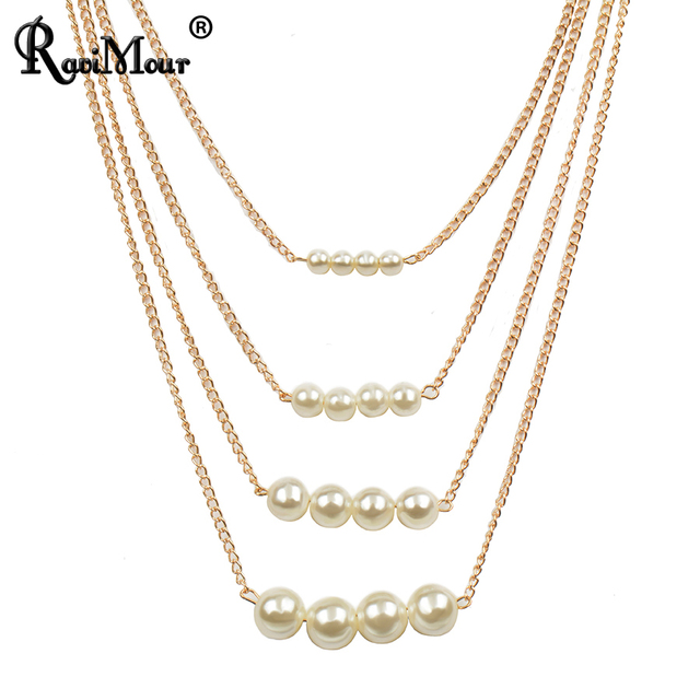 Célèbre RAVIMOUR Multilayer Imitation Pearl Necklaces & Pendants Fashion  TC73