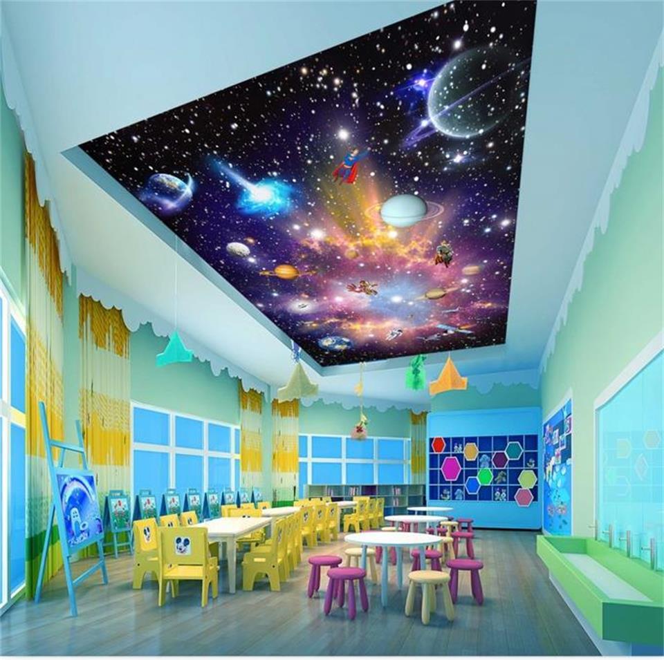 カスタム3d写真壁紙キッズルーム壁画天の川カラフルユニバース天井