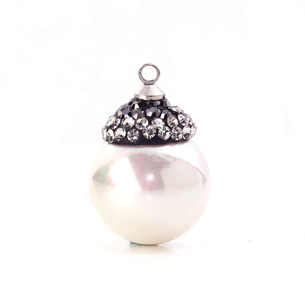 "Doreen Box Shell Micro Paved Charms White Ball Dark Gray Clear Rhinestone Imitation Pearl 22mm( 7/8"") x 15mm( 5/8""), 1 Piece"