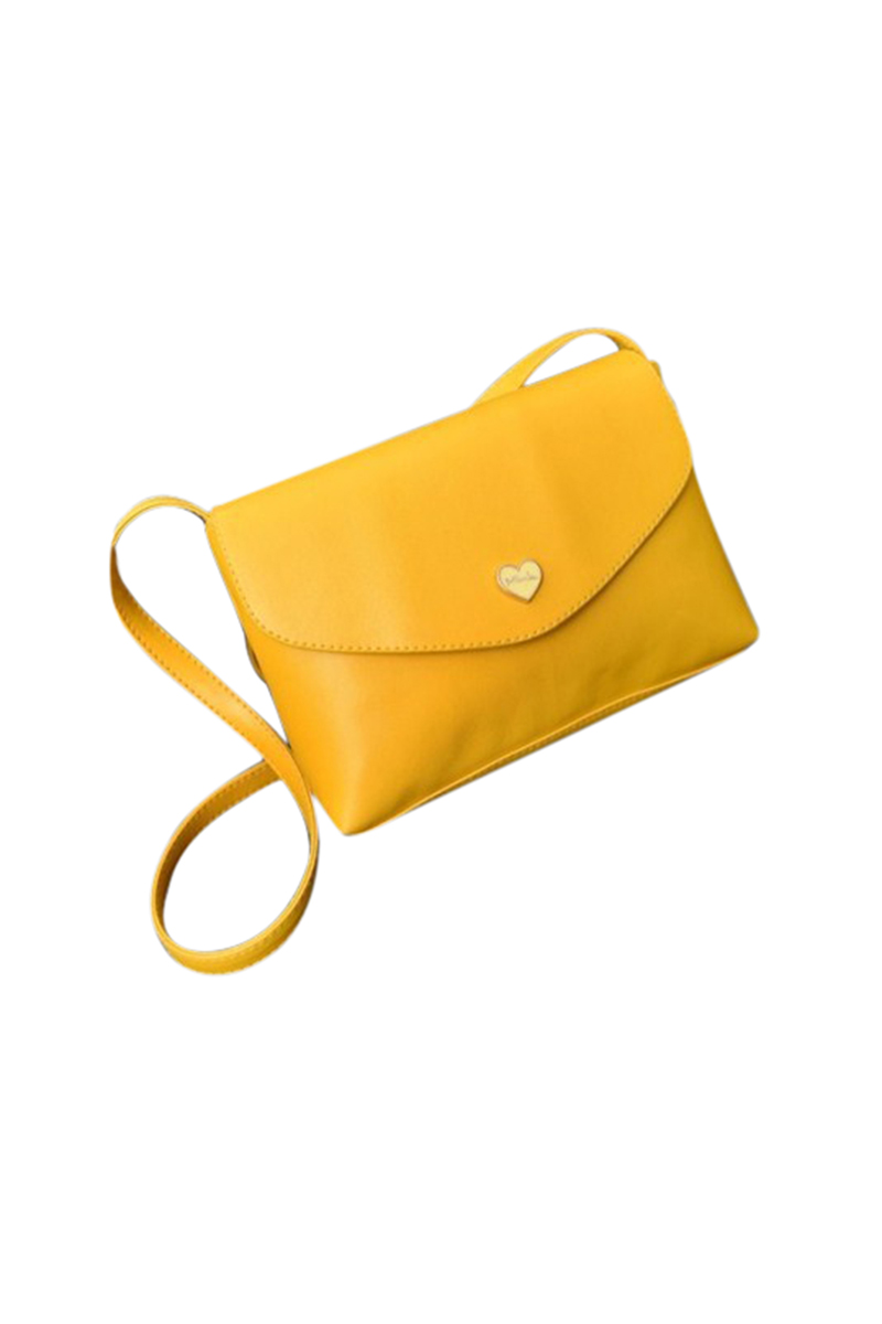 Hot Sale Heart Women Leather Handbags Cross Body Shoulder Bags Fashion Messenger Bags Small Women Bags yellow