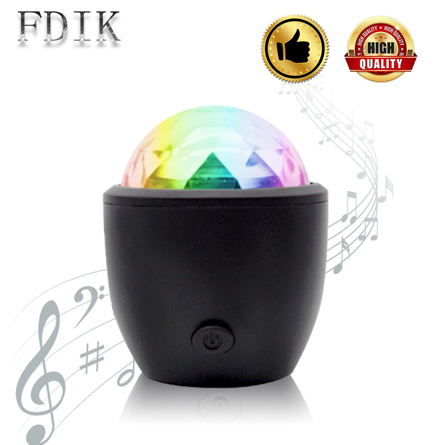 USB Sound Control Crystal Magic Ball Disco Lamp Portable Mini DJ Party Bar Stage LED Light Colourful Voice activation Mood Lamps