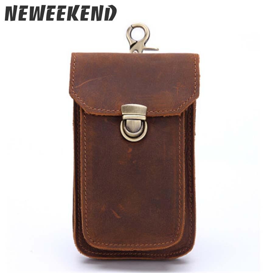 New Men's Genuine Crazy Horse Leather Waist Bag With Shoudler Crossbody Belt Hip Bum Loops Pack Phone Purse Pocket  2088 2089