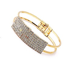 Hot Sale Trendy Shiny White Crystal Inlay Gold Silver Color Charm Wide Opening Hollow Bracelets Bangles for Women Ladies Jewelry(China)